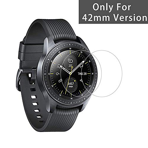 Samsung Galaxy Watch Screen Protector [2 Pack] [Only for 42mm Version 2018], Full Coverage Tempered Glass Film [9H Protection] [Bubble Free] [Easy Install] [Scratch Resistant]