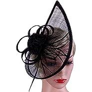 Vijiv Women's Vintage Derby Fascinator Hat Pillbox Headband Feather Cocktail Tea Party