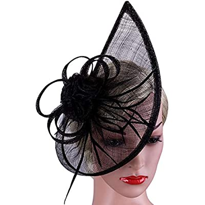Vijiv Women's Vintage Derby Fascinator Hat Pillbox Headband Feather Cocktail Tea Party