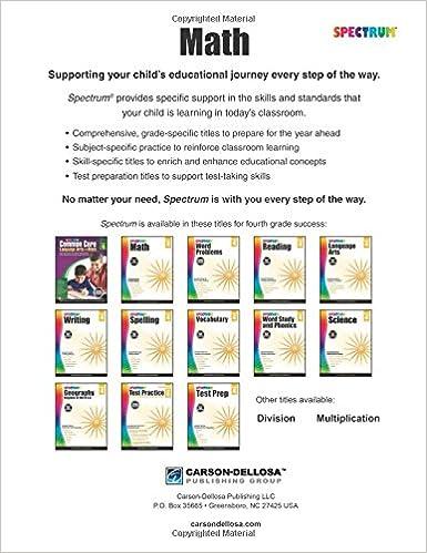 Workbook aa 4th step worksheets : Spectrum Math Workbook, Grade 4: Spectrum: 9781483808727: Amazon ...