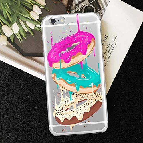 MISC Purple Brown Teal Clear Glazed Donuts iPhone 7 Plus Sized Case, Bigger Screen Dessert Themed 8 Plus Cover Sprinkles Doughnut Pastry Sweet Tooth White, TPU