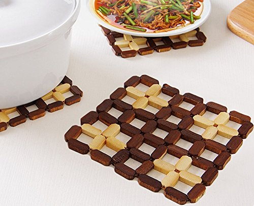 WPSTORY 6Pcs;Hollowed-out Bamboo Dish Mat Cushion The Kitchen Is Hot Plate Mat ( Mixed Color)
