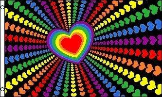 3'x5' Rainbow Love Hearts Flag