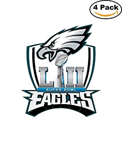 Philadelphia eagles 2018 super bowl 52 champions 4x4 inches decal football 4 stickers