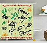 Ambesonne Mexican Decorations Shower Curtain, Popular Hispanic Objects with Fiesta Taco Guitar Cactus Plant Nachos Print, Fabric Bathroom Decor Set with Hooks, 70 Inches, Multi