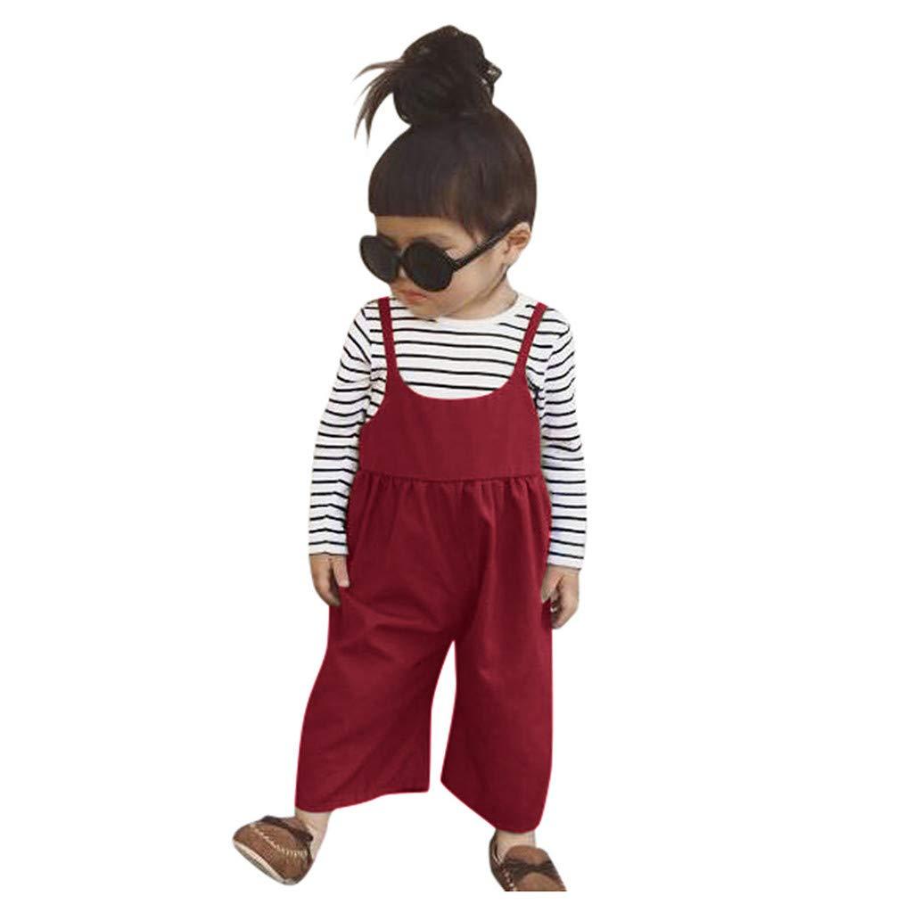 WEXCV Kleinkind Baby M/ädchen Set Kleidung Streifen Langarmshirts Einfarbig Hosentr/äger Lose Hosen Set Herbst S/ü/ß Niedlich Outfit Set f/ür 6M-4 Jahre