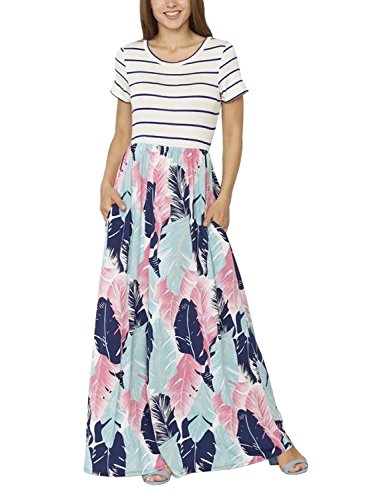 Dress Maxi Feather (Lovezesent Women's Plus Size Summer Blue Striped Feather Print Cotton Casual Long Maxi Flowy Dress Pockets Holiday Party XL)