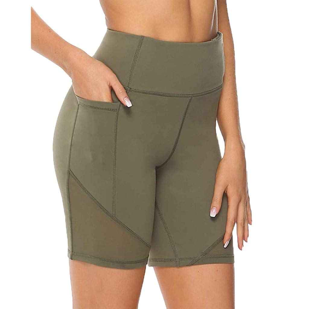 Women High Waist Yoga Tight Short Tummy Control Legging Mesh Patchwork Running Pants Slim Fit Workout Short Swim Button