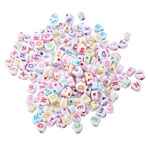 - 500pcs 6.8mm Mixed White Heart Shape Acrylic Letter Beads