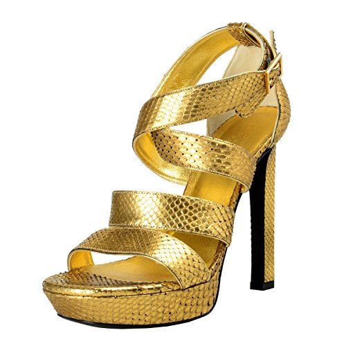 Women's Platform Saint Laurent Sandals Shoes Heels Gold Python High pwwH5xUP