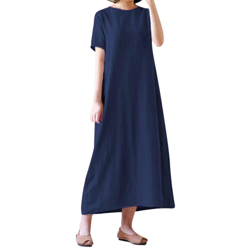 Oksea Loses langes Kleid Damen Sommer Kurzarm Taschen Feste Übergröße Lose Beiläufiges Langes Kleid Damen Einfarbig Kurzarm Lose Maxikleid