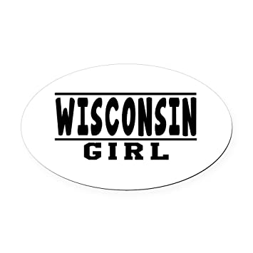 Cafepress wisconsin girl designs oval car magnet oval car magnet euro oval magnetic
