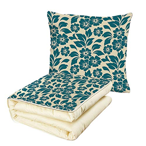 Quilt Dual-Use Pillow Floral Flower Petals Blossoms Shabby Chic Fragrance Florets Nature Spring Tropical Design Multifunctional Air-Conditioning Quilt Teal ()