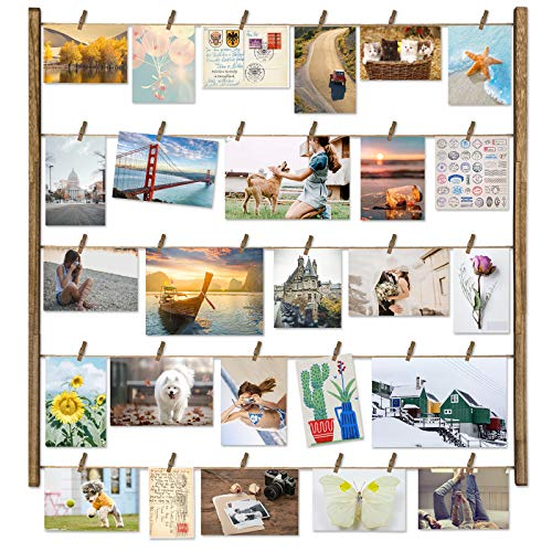 Love-KANKEI Wood Picture Photo Frame for Wall Decor 26×29 inch with 30 Clips and Adjustable Twines Collage Artworks Prints Multi Pictures Organizer and Hanging Display Frames Weathered Grey