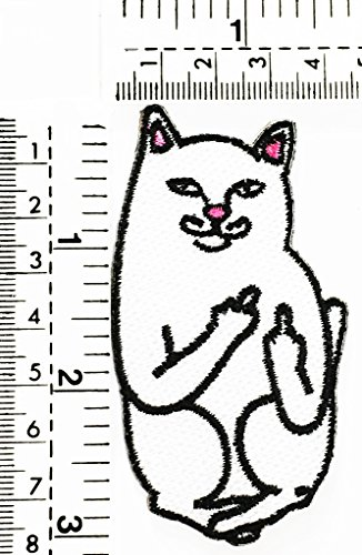white cat cartoon fuck you smile cat joke funny kids cartoon patch Applique for Clothes Great as happy birthday gift]()