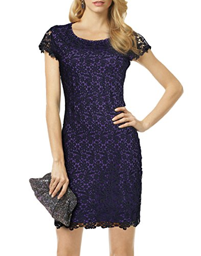 WOOSEA Elegant Cap Sleeve Full Flroal Lace Cocktail Party Short (Micro Check Stretch Suit)