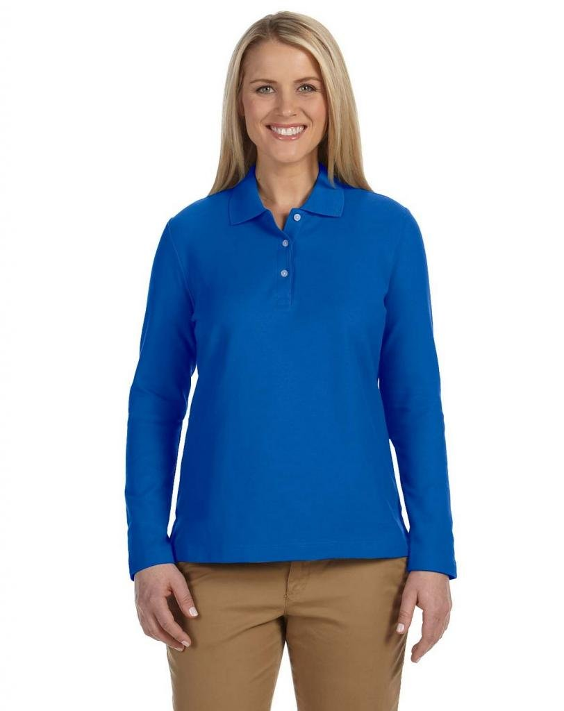 Devon & Jones Ladies' Pima Pique Long-Sleeve Polo Shirt D110W