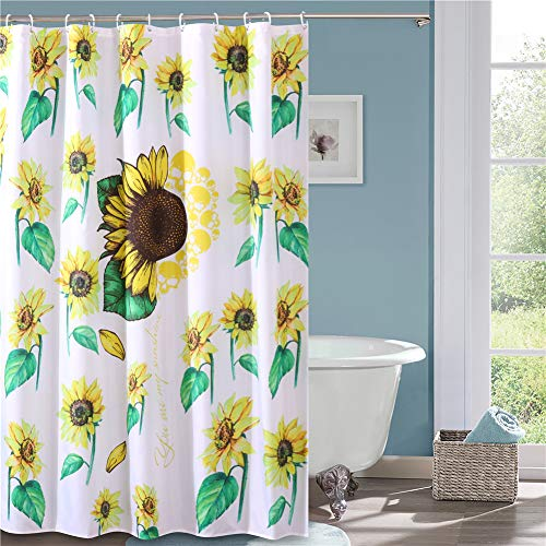 Creative Sunflower and Yellow Butterflies Shower Curtain Set Bathroom Decor 72/""