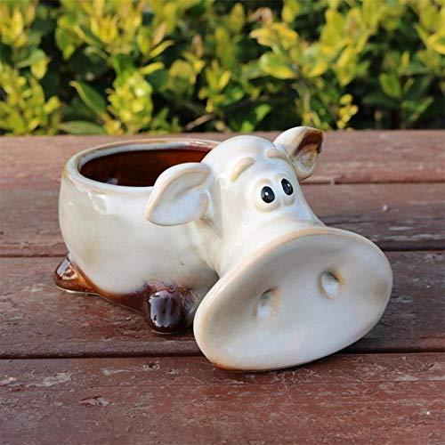 Pig Tabletop - Funny Porcelain Piggy Statue Flower Pot Decorative Ceramics Home Tabletop Planter Bonsai Pig Craft Ornament Accessories Supplies - (Color: Multi, Sheet Size: Medium)