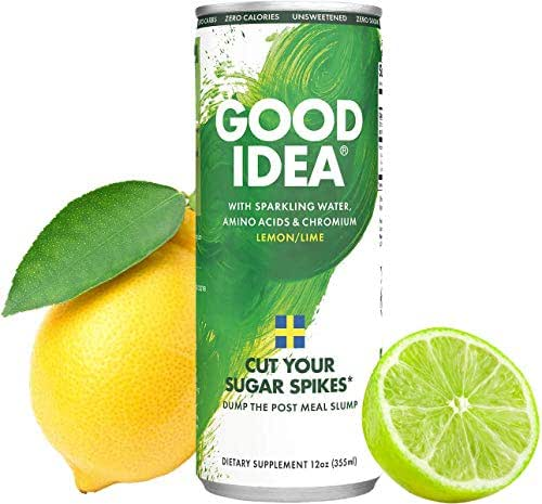 Good Idea Drinks: Flavorful Sparkling Water - Blood Sugar, Glucose, Insulin Support - Essential Amino Acids and Chromium - Help Maintain Weight - Metabolism Support - All Natural, Vegan, Non-GMO