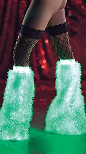 Party King Women's Glow In The Dark Furry Boot Covers, White, One Size
