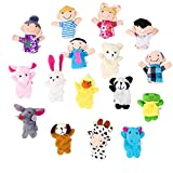 Image of OPount 16 Pcs Soft Plush Animal Finger Puppets Set Including 10 Pcs Animal + 6 Pcs People Family Members Educational Toys