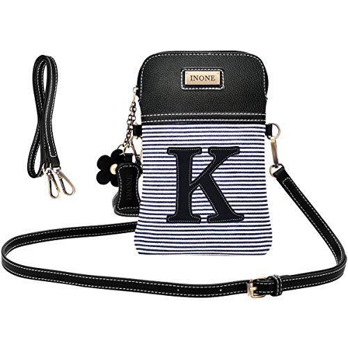 Bag K Women Leather Handbag Letter Phone Stripe with Black White Canvas PU Crossbody Cell Monogram inOne Purse xa5FqwRXF