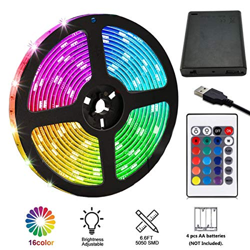 LED Strip Lights Battery Powered, 6.5FT/2M RGB LED Light Strip SMD5050 60 LEDs Rope Lights Color Changing Flexible LED Strip Kit for Home Bedroom DIY Party Indoor Outdoor ()
