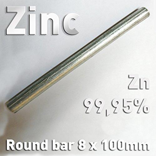 Polymet Galvanotech Zinc rod anode / electrode (10 cm x 8 mm) for zinc plating solution