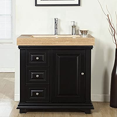 """Silkroad Exclusive Bathroom Vanity Travertine Top Single Ramp Sink Right Cabinet, 36"""""""