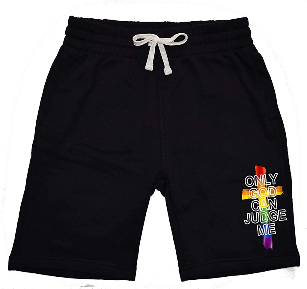 Mens Only God Can Judge Me KT T14 Black Fleece Jogger Sweatpant Gym Shorts Medium Black