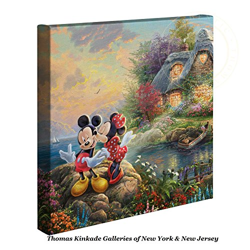 Thomas Kinkade Disney Mickey and Minnie Sweetheart Cove 14 x 14 Gallery Wrapped Canvas (Frame Bar Certificate)