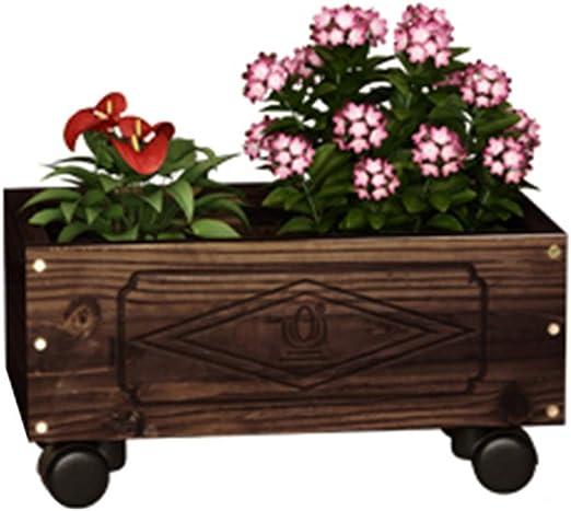 ZHANWEI Estantería De Flores Madera Maciza Comedero De Flores Jardín Siembra Cajas De Flores Soporte De Flores con Ruedas, 4 Tallas (Color : 44x20x18cm): Amazon.es: Jardín