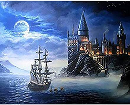 Harry Potter Castle DIY 5d Diamant Malerei Kreuzstich Kits Insel Schloss Mosaik Stickerei Diamant Muster Home Decoration Quadratische Bohrmaschine 20x25cm