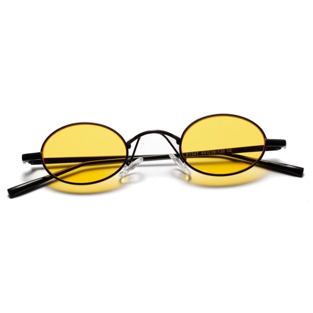 a134128d24120b MagiDeal Damen Herren Sonnenbrille Oval Kleine Sonnenbrillen polarisierten  Brille Kunststoff UV-Schutz Gläser Linse für Party Freizeit - Gelb:  Amazon.de: ...