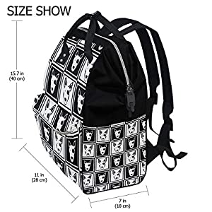 ALINLO Black White Hipster Bull Terrier Dog Pattern Diaper Bags Mummy Tote Bags Large Capacity Multi-Function Backpack…