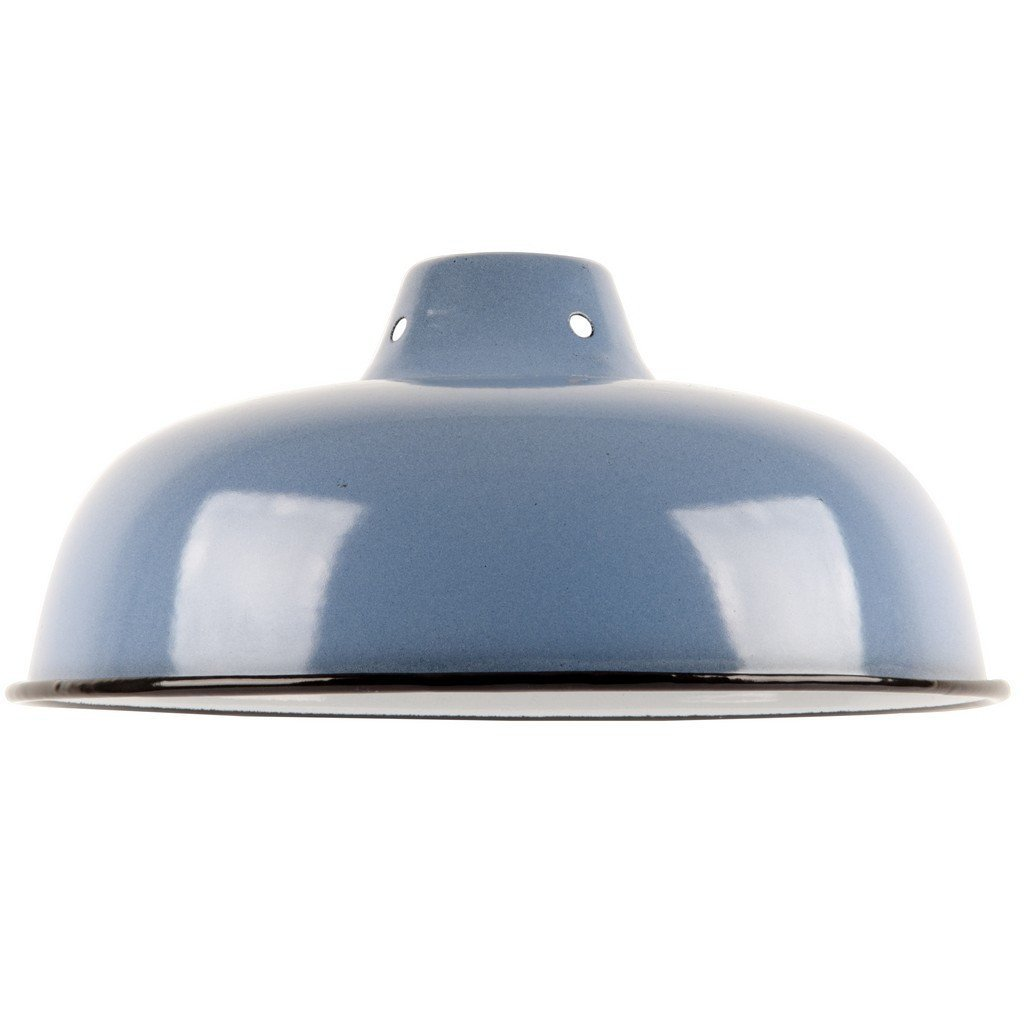 Vintage//Antik Stil Industrie Reproduktion Retro Metall Lampenschirm mit Emaille blau Finish