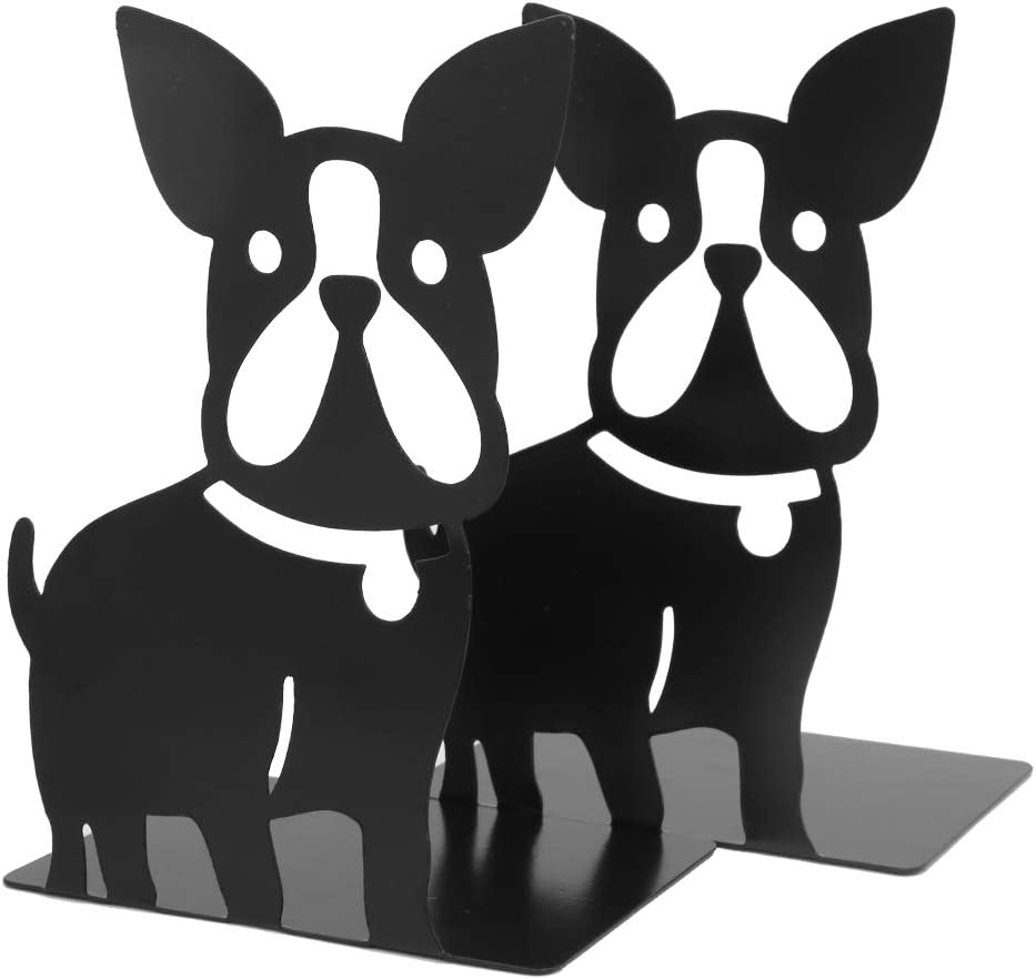 Black Winterworm Lovely Bulldog Bookends Book Organizer Metal Book Ends Bookhelve for School Library Desk Study Home Office Decoration Kids Gift
