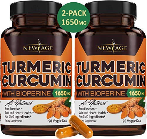 (2-Pack) Turmeric Curcumin with Bioperine 1650mg by New Age. Premium Pain Relief & Joint Support with 95% Standardized Curcuminoids. Non-GMO, Gluten Free Turmeric Capsules with Black Pepper