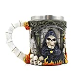 KOBWA Creative 3D Skull Death Ghost Head Stainless Steel Mug Drinking Cup
