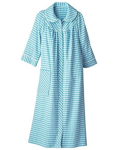 National Long Yarn-Dyed Flannel Check Duster, Jade, Large