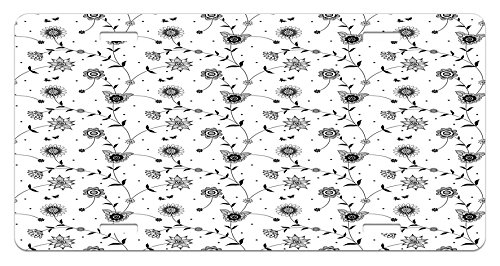 Tiny Vine (Black and White License Plate by Lunarable, Flowers on Vines Pattern Small Cute Petals Leaves with Tiny Butterflies, High Gloss Aluminum Novelty Plate, 5.88 L X 11.88 W Inches, Black White)