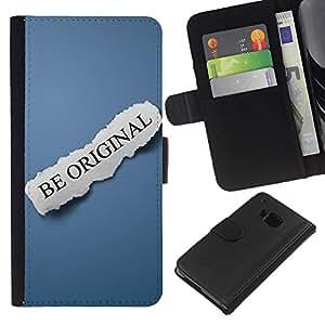 HTC One M9 , la tarjeta de Crédito Slots PU Funda de cuero Monedero caso cubierta de piel ( Be Original Text Blue Paper Message)