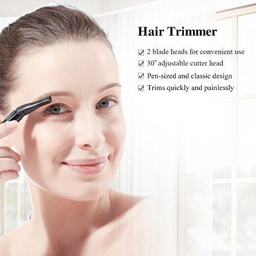 TOUCHBeauty Advanced Precision Eyebrow Trimmer with Adjustable Blade Head, Battery Powered Mini Facial Shaver TB-898