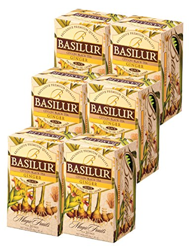 Basilur | Ginger Tea | With Real Bits of Ginger | Throat Therapy | Single Origin Ceylon Black Tea | 20 Count Foil Enveloped | Pack of 6