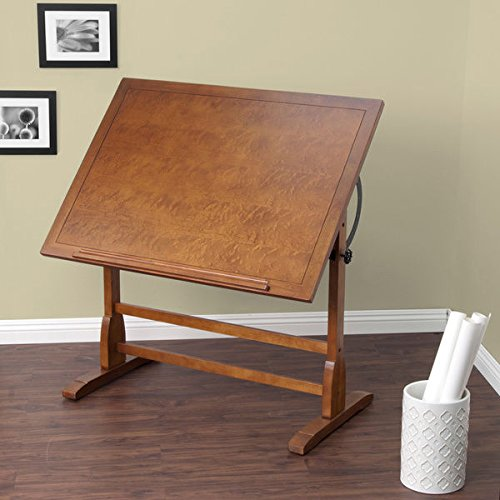Studio Designs 42-inch Vintage Oak Drafting Table with 24'' pencil ledge and groove by Studio Designs