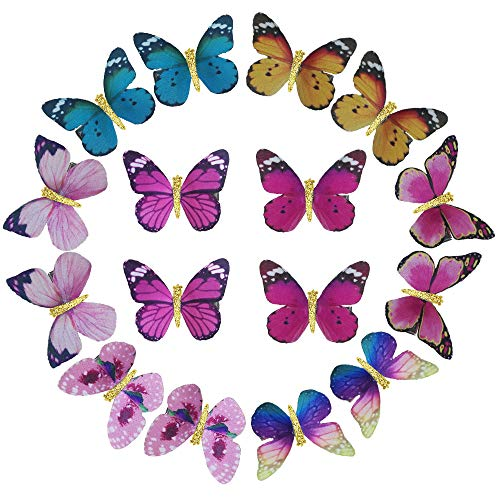 Glitter Butterfly Gold - Butterfly Hair Clips Gold Glitter Barrette Headband Hairband Christmas Women Girls Kids Baby Headdress Headwear Headpiece Party Decoration Cosplay Costume Cute Handmade Hair Accessories 16 Pack