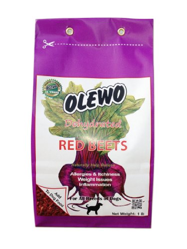 Olewo Dehydrated Red Beets for Dogs Help Dog Skin Allergies/Itching with Detoxification/Anti-Inflammatory Support -1 Pound
