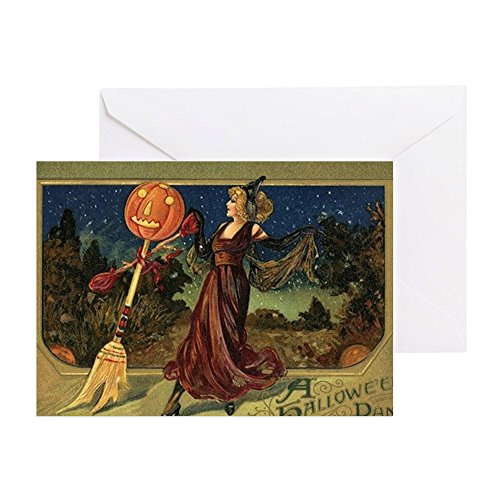 CafePress Vintage Halloween Dancing Witch Greeting Card, Note