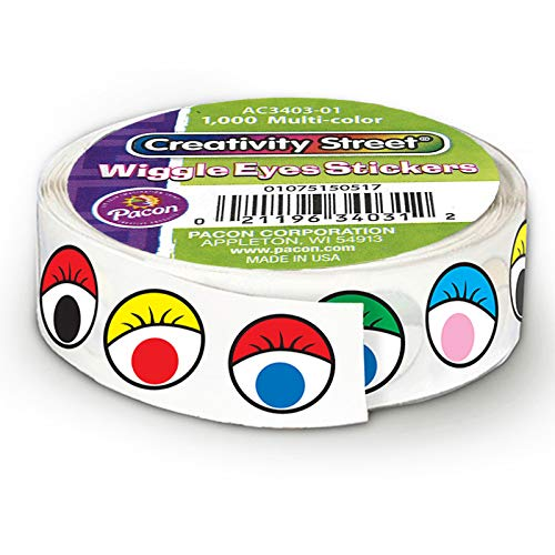 Chenille Kraft CK-34031 Wiggle Eyes Stickers on a Roll, 2.5